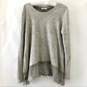 HAVE Long Sleeve Lace Trim Sweater Gray Size Small